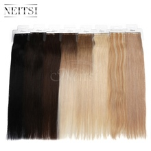"Neitsi Ombre Tape In Remy Human Hair Extensions Virgin Remy Skin Weft Hair Straight 16""18""20""22"" + 10 Sheets Tape Adhesive Tabs"