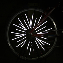 12Pcs Bicycle Spokes Ebike Sets DIY Fluorescence Reflector Reflective Mount Clip Warning Strip Safety Warning Stickers Si031