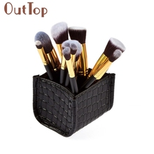 pincel maquiagemOutTop 10PCS Makeup Brushes Set Foundation Powder Eyeshadow WITH Cosmetic Brush Holder Drop Shipping Oct20(China)