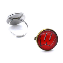 NCAA Wisconsin Badgers Clear Domed Glass Cabochon Cover and Brass Pad ring jewelry for DIY Portrait Ring Making