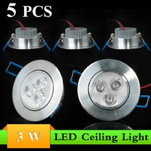 (5pcs/Lot) 3W LED Ceiling Lamp AC85~265V Warm White/Cool White LED Ceiling Light LED Bulb Lamp Free Shipping