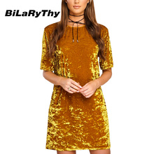 BiLaRyThy Fashion Summer Casual Women Velvet Mini Shift Dress O Neck Short Sleeve Loose Straight Dresses Vestidos