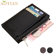 Luxury Retro Zipper Mens Leather Wallet Credit ID Card Purse AOTIAN Wholesale Feb2