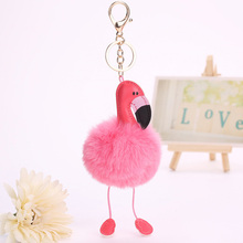 Cute Cartoon Flamingo Keychain Lovely Fluffy Artificial Rabbit Fur Ball Key Chain Animal Bird Pompom Women Car Bag Key Ring