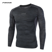 TOP sale Mens Boys Compression Armour Base Layer Long sleeve Thermal Under Top Tee Shirt New Printing T shirt Fitness men shirt(China)