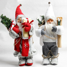 30cm New Year Christmas Ornaments Snowman Santa Claus Elk Reindeer Dolls Plush Toys Gifts For Kids Child Home Decorations Crafts
