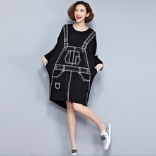 2018 European Style Women Fashion Mini Dress Braces Pattern Black Irregular One Piece T-Shirt Dress Long Sleeve Printed Tunic(China)