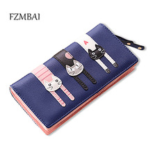2017 New Fashion Envelope Women Wallet Cat Cartoon Wallet Long Creative Female Card Holder PU wallet coin purses Girls