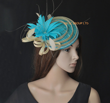 NEW Turquoise blue sinamay fascinator with feather flower fo Derby,ascot races,melbourne cup,wedding.Royal blue,black,cream,red.