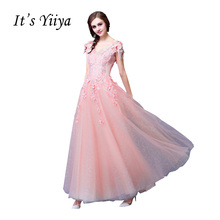 It's YiiYa Pink Popular Short Sleeve V-Neck Evening Dresses Flower Appliques Crystal Tassel Elegant Evening Gown QXN123(China)