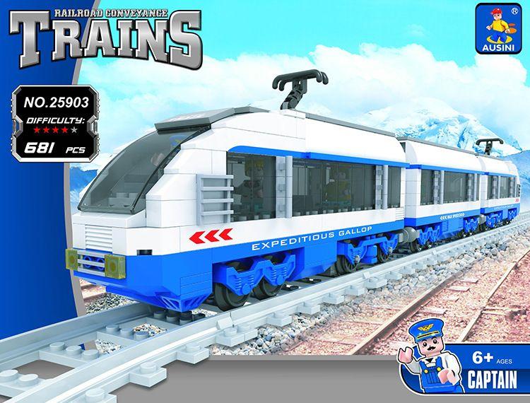 Model building kit compatible with lego city transportation train rails 681pcs 3D blocks Educational model building toys hobbies<br>