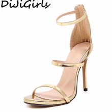 DiJiGirls women new concise simple strappy open toe ankle strap mary jane stiletto cut out sandals pump high heels gold silver(China)