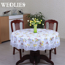 PVC Round Table Cloth New Pastoral Style Waterproof Oilproof Flower Printed Plastic Table Cover Home Party Wedding Tablecloth
