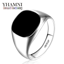 2017 Latest Fashion Never Fade 316l Stainless Steel Ring Gold Filled Natural Black Onyx Stone CZ Engagement Wedding Ring BKJZ016(China)