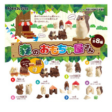 Japanese Original capsule toys bulks cute farm animals Forest house toy shop cartoon squirrel block home desk figures
