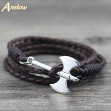 Anslow Brand PersonalitIed Design Multilayer Hatchet Axe Silver Plated New Bracelets 60cm Multilayer Christmas Gift LOW0239LB(China)