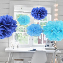 5pc Blue Shade (navy blue,turqoise blue,light blue) 15cm Tissue Paper Pom Poms Flower Balls Hanging Decor Party Birthday Wedding(China)