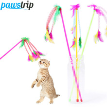 3Pcs/lot Funny Fun Cheap Cat Toys Colorful Feather Small Dog Cat Rods Toys
