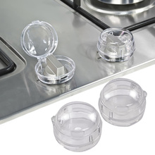2 Pcs Universal Clear View Children Kids Baby Safety Lock Stove Gas Knob Protective Covers Lid Translucent