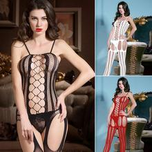 New arrival sexy hollow out open crotch tight fishnet Bodystocking Sexy Lingerie black/white/red