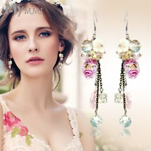 Mymumu earrings, earrings long temperament artificial coloured glaze pink fringed accessories Korean earrings(China)