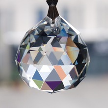 30MM Clear Faceted Ball Glass Chandeliers Pendants 5 pcs/bag 4.5IN Chain Wedding Decor Drop Prisms Home Lighting Hanging Parts(China)