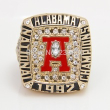 Factory price, Alabama, red tide, storm, 1992 championship ring, exquisite replica.(China)