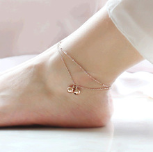 FAMSHIN fashion Minimalist style double-fringed bell anklets rose gold rose gold titanium steel female Mosaic gold gift(China)