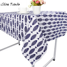 NEW Fish Print Saury Dining Tablecloth Cotton Linen Rustic Rectangle Washable Table Cover Dining Table Cover For Kitchen(China)