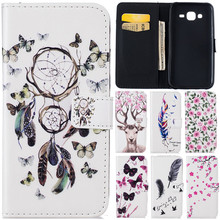 Luxury Cute Cartoon 3D Butterfly Net Flower Deer Leather Flip Fundas Case For Samsung Galaxy J5 2015 J500 J500F J5008 Back Cover