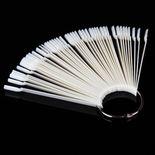 50 Pcs Nail Polish UV Gel Color Palette Card Display Shelf Practice Training Fan Shaped Showing Sticks White Manicure Tool