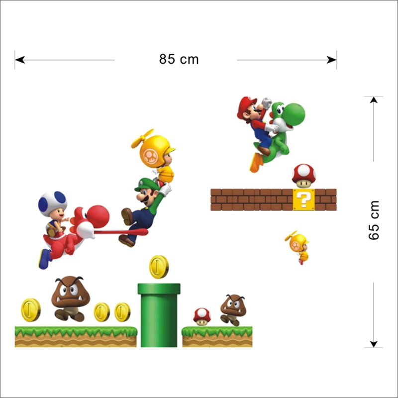 HTB17UzoOpXXXXaTaFXXq6xXFXXX2 Super Mario Bros Kids Removable Wall Sticker Decals Nursery Home Decor Vinyl Mural for Boy Bedroom Living Room Mural Art
