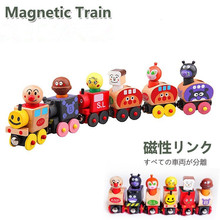 6Pcs Wooden Magnetic Bread Small Train Puppet Toys Children Shape Cognition Model Toy Tractor Toy Car