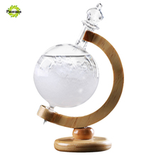 Beautiful Weather Forecast Crystal Storm Glass Wooden Base Globe Shape Desk Room Ornaments For Home Decoration Christmas Gifts(China)
