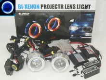 "2x 2.8"" 55W 6000K Motorcycle Headlight Headlamp Head Lamp HID Bi-Xenon Projector Lens Light Kit CCFL Halo Angel Devil Eye Blue"
