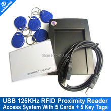 USB 125KHz EM4100 RFID Proximity Reader + 5 Cards + 5 Key Tags