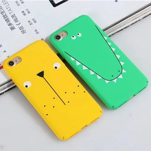 Fashion Lovely Cartoon Dog Crocodile Case For iphone 6 6s Plus 7 Plus Full Protection Plastic Matte Hard Phone Cover Coque Capa