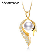 VEAMOR Charm Peacock Design Pearl Jewelry 925 Sterling Silver Jewelry Fashion Pearl Pendant Necklaces for Women 18k Gold Color(China)