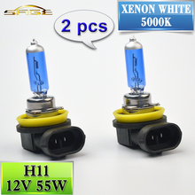 H11 Halogen Bulb 12V 55W 2 PCS(1 Pair) Super White 5000K Quartz Glass Xenon Dark Blue Car HeadLight Lamp