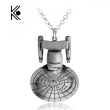 Free Shipping Hot Movie Star Trek Enterprise Model pendant Spacecraft Necklace Metal Alloy Pendant Necklace For Men Accessories(China)