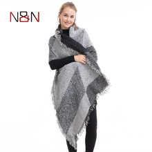 NN New Designer Scarf Women Luxury 2017 Winter Cashmere Warm Shawls Striped And Partchwork Big Size Shawls And Capes NN-CS-048(China)