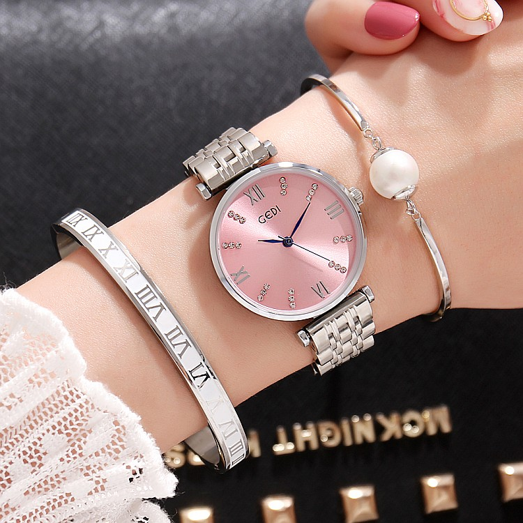 GEDI Fashion Rose Gold Silver Women Watches Top Luxury Brand Ladies Quartz Watch 3 Pieces Girls Watch Relogio Feminino Hodinky<br>