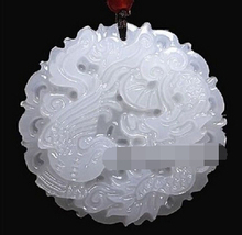 FREE SHIPPING A3802 Beautiful Handmade Natural White stone  Carved Dragon Phoenix Pendant Necklace