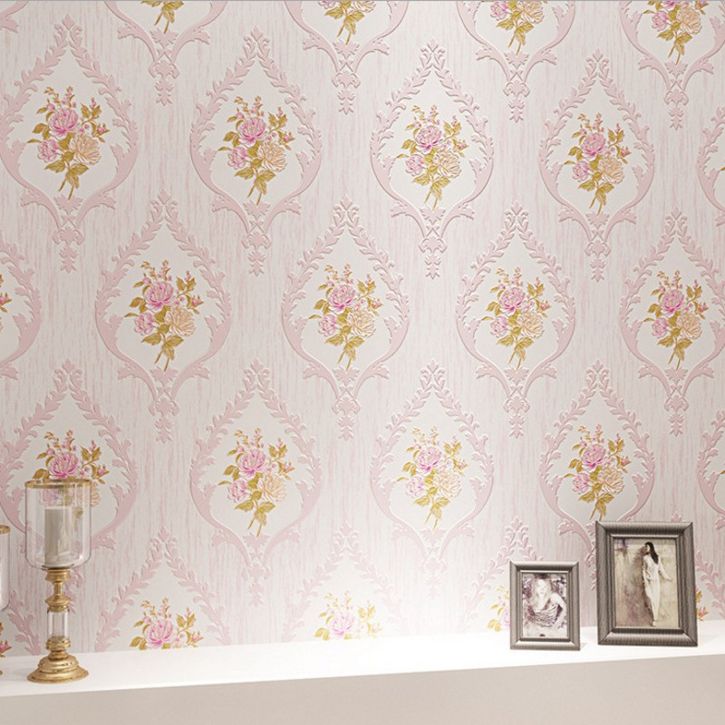 Free Shipping European Pastoral Nonwovens Wallpapers Bedroom Warmest Damascus Flower Wedding room beauty Wallpaper<br>
