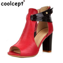 Size 32-43 Women's Gladiator Genuine Leather High Heel Sandals Platform Lady Sexy Real Natural Leather Heeled Sandals Shoes R233