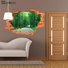 3D Broken Wall Bamboo From The Stickers  Landscape Murals Bedroom Living Room Background Wall Decoration  PVC Wall Stickers