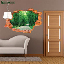 3D Broken Wall Bamboo From The Stickers Landscape Murals Bedroom Living Room Background Wall Decoration PVC Wall Stickers(China)