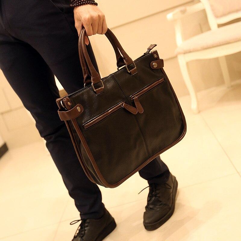 2017 Real Rushed Polyester Handbag Men Bag Leather Briefcases For Lawyers Shoulder Bags pu Male Messenger Handbags Office <br>