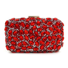 NEW Rhinestones women clutch bags Red diamonds evening bags crystal wedding bridal handbags purse bags holder(China)