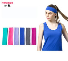 12pcs Wholesale 2 inch Solid Cotton Headband Sports Softball Sweatband Hair Band Bandage On Head Turban Bandana Elastic Headband(China)